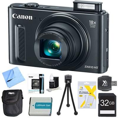 PowerShot SX610 HS 20.2MP Digital Camera 18x Zoom 3` LCD Black 32GB Super Bundle