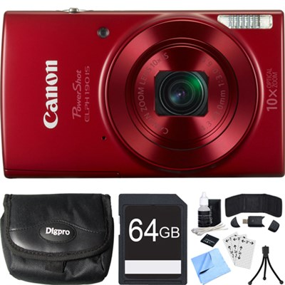 PowerShot ELPH 190 IS Red Digital Camera w/ 10x Optical Zoom 64GB Card Bundle