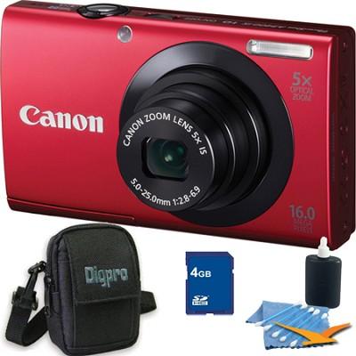 PowerShot A3400 IS 16MP Red Digital Camera 4GB Bundle