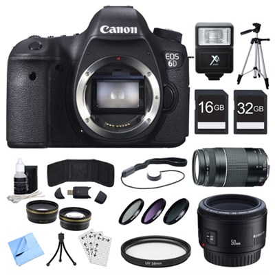 EOS 6D CMOS Digital SLR Camera, Lenses, and Cards Bundle