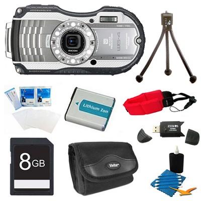 WG-4 Waterproof Digital Camera - Silver 8 GB Bundle