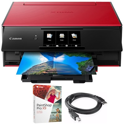 PIXMA 9120 Printer Red with Corel Paint Shop Pro X9 Bundle