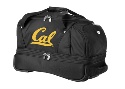 22-Inch Drop Bottom Rolling Duffel Luggage, Black - California Golden Bears