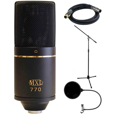 Cardioid Condenser Microphone - 770 w/ Monoprice Microphone Stand Bundle