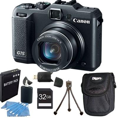 Powershot G15 12 MP High-Performance Digital Camera 32GB Bundle