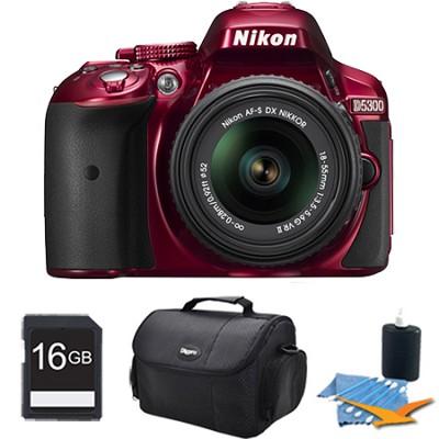 D5300 DX-Format Digital SLR Kit (Red) w/ 18-55mm DX VR II Lens 16GB Bundle