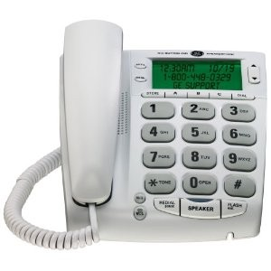 Corded Big Button Speakerphone with Extra Large LCD Display/CID...WHITE
