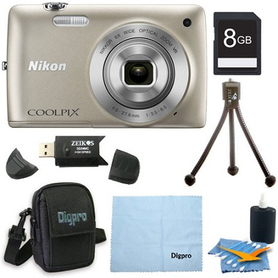 COOLPIX S4300 16MP 3-inch Touch Screen Digital Camera 8GB Silver Bundle