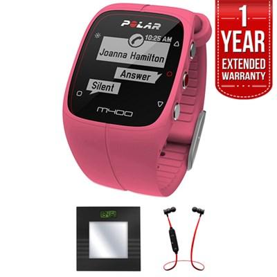 M400 GPS Smart Sports Watch Pink + Bluetooth Scale & Headphone Bundle