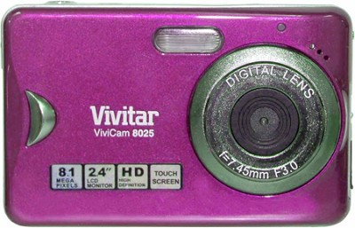 Vivicam V8025 8.1MP 2.4` Touchscreen, 8x Zoom Digital Camera (Pink)
