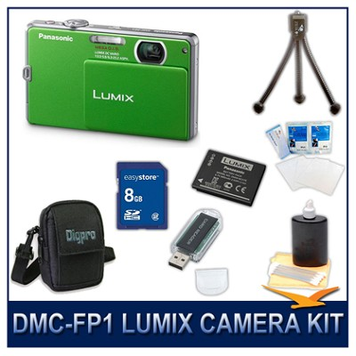 DMC-FP1G LUMIX 12.1 MP Digital Camera (Green), 8G SD Card, Card Reader & Case