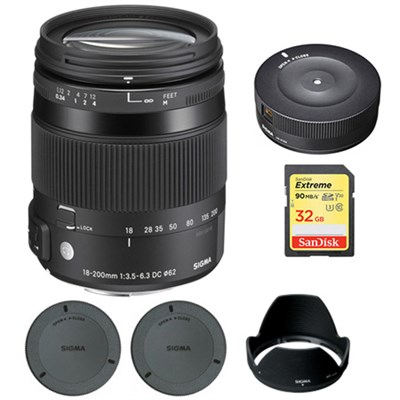 18-200mm F3.5-6.3 DC Macro OS HSM Lens for Nikon with USB Dock Bundle