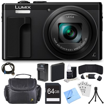 ZS60 LUMIX 4K 18 MP Digital Camera with Wi-Fi - Black (DMC-ZS60K) 64GB Bundle