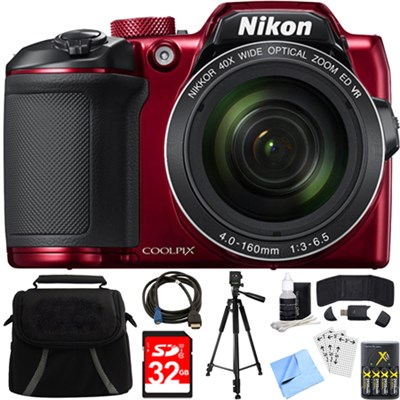 COOLPIX B500 16MP 40x Optical Zoom Digital Camera w/ Built-in Wi-Fi Bundle (Red)