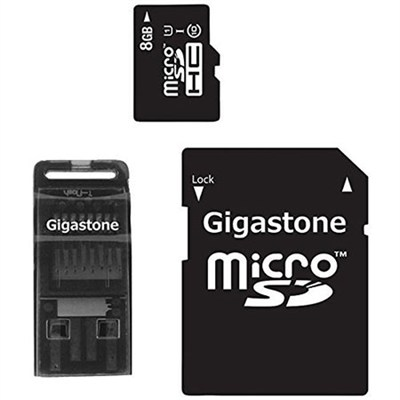 MicroSD HC 8GB C10 U1 with SD and USB Adapters