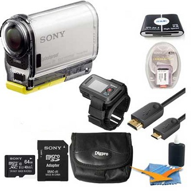 HDR-AS100VR/W  POV Action Cam + Live View Remote Extras Bundle