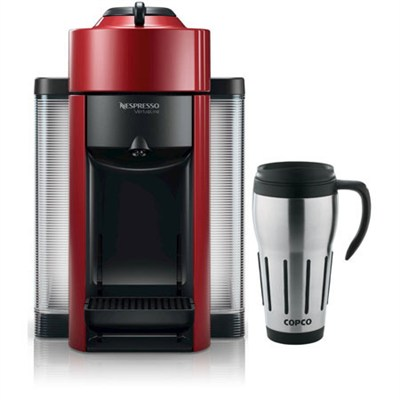 Vertuoline Evolu GCC1 Espresso Maker/Coffee Maker Cherry Red + Travel Mug Bundle