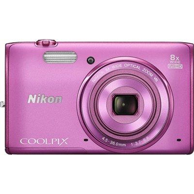 COOLPIX S5300 16MP 8x Opt Zoom Digital Camera HD (Pink) Refurbished