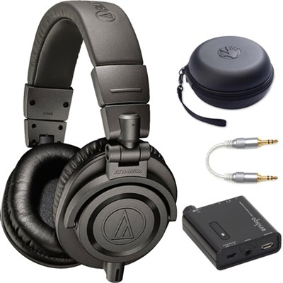 ATH-M50xMG Professional Studio Headphones w/ Portable Amplifier + Case Bundle