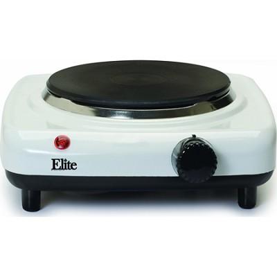 ESB-301F Elite Cuisine Single Cast Burner 1000-Watt Hot Plate, White