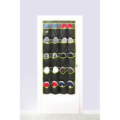 Home 20 Pocket Over the Door Shoe Organizer - Slate Grey with Lime Trim