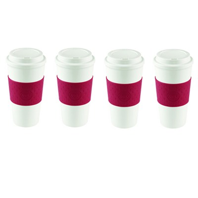 Acadia Travel Mug, 16-Ounce, Cherry Red (2510-9990) 4 Pack Bundle