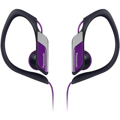 Water-Resistant Sport Clip Adjustable Earbud Headphones, Purple