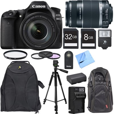 EOS 80D CMOS DSLR Camera w/ EF-S 18-135mm IS USM Lens Photography Bundle