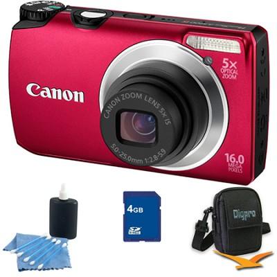 PowerShot A3300 IS 16MP Red Digital Camera 4GB Bundle