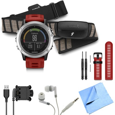 fenix 3 Multisport Training GPS Watch with Heart Rate Monitor Red Band Bundle