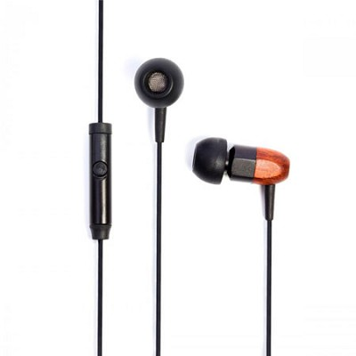 ts02+Mic 8mm Noise Isolating Wooden Headphone Black/Chocolate (ts02-mic-blkchoc)