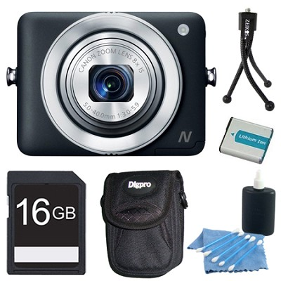 PowerShot N Black 12.1MP Digital Camera 16GB Bundle