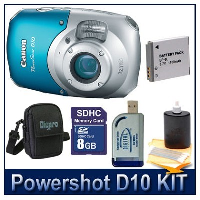 Powershot D10 Kit w/ 8GB SD Card,  Reader, Battery, Case & More