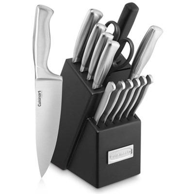 Stainless Steel Hollow Handle 15-Piece Cutlery Knife Block Set