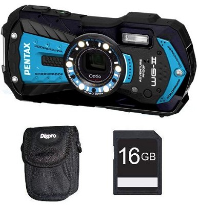 Optio  WG-2 Azure Blue Waterproof 16 MP Digital Camera Kit with 16GB SDHC Card
