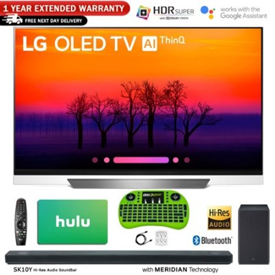 OLED55E8PUA 55` Class E8 OLED 4K HDR AI Smart TV w/ Sound Bar + Hulu Bundle