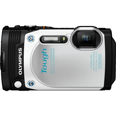 TG-870 Tough Waterproof 16MP White Digital Camera with AF Lock and 3` LCD