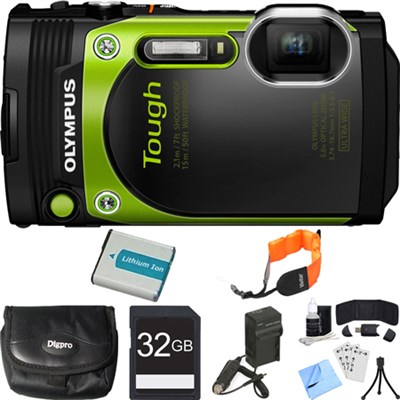 TG-870 Waterproof 16MP Green Digital Camera 32GB SDHC Memory Card Deluxe Bundle