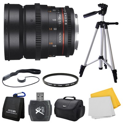 DS 24mm T1.5 Full Frame Wide Angle Cine Lens for Nikon Mount Bundle