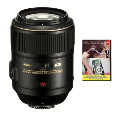 105mm f/2.8G ED-IF AF-S VR Micro-Nikkor Lens w Warranty & Adobe Elements Bundle