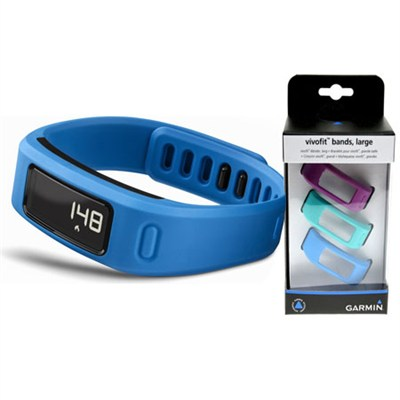 Vivofit Fitness Band Bundle with Heart Rate Monitor (Blue)(010-01225-34)