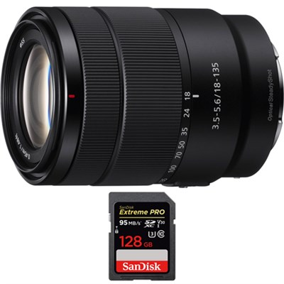 E 18-135mm F3.5-5.6 OSS APS-C E-mount Zoom Lens with 128GB Memory Card