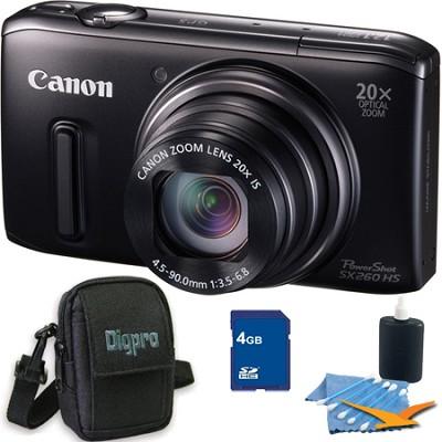 PowerShot SX260 HS Black Digital Camera 4GB Bundle