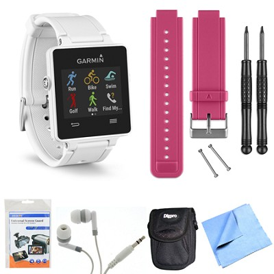 vivoactive GPS Smartwatch - White (010-01297-01) Berry Replacement Band Bundle