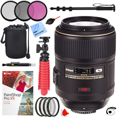 105mm f/2.8G ED-IF AF-S VR Micro-Nikkor Close-up Lens + 62mm Filters Kit