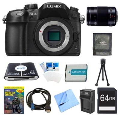 LUMIX DMC-GH4K DSLM Digital Camera Body 64GB and 35-100mm Lens Bundle
