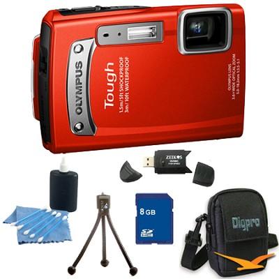 8GB Kit Tough TG-320 14MP Waterproof Shockproof Freezeproof Digital Camera - Red