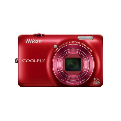 COOLPIX S6300 16MP 10x Opt Zoom 2.7 LCD Digital Camera - Red