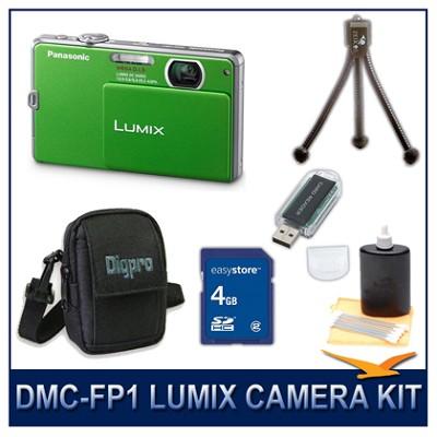 DMC-FP1G LUMIX 12.1 MP Digital Camera (Green), 4G SD Card, Card Reader & Case