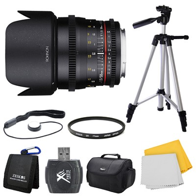 DS 50mm T1.5 Full Frame Wide Angle Cine Lens for Sony E Mount Bundle